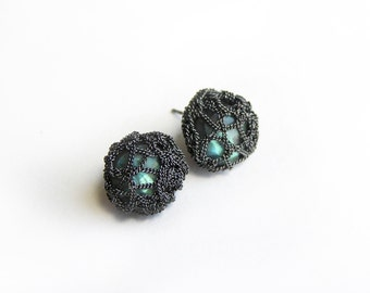 faceted labradorite gemstone post earrings - crocheted sterling silver buttons
