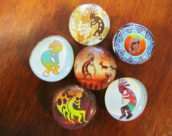 KOKOPELLI MAGNETS Native American Design Set of 6 Glass Bubble Magnets