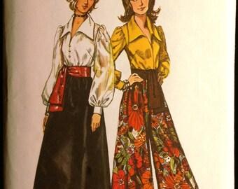 Simplicity 5235 Misses Blouse Skirt Pantskirt & Sash Vintage 70s Sewing Pattern Sz 10