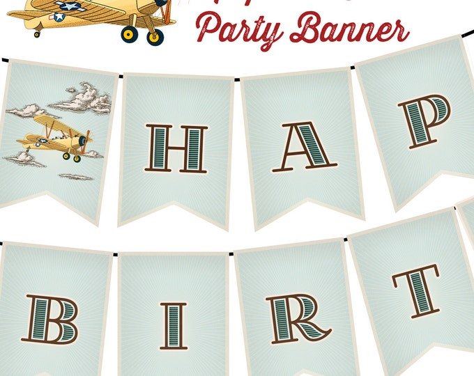 Happy Birthday Banner, Vintage Retro Airplane, Instant Download, Print Your Own