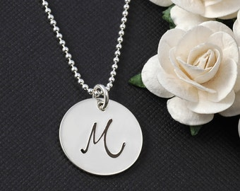 "Initial necklace,  Personalized letter, sterling silver initial, initial jewelry, hand stamped 3/4"" disc"