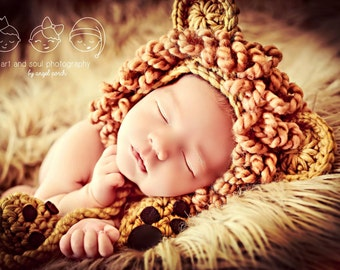Newborn Baby Boy Photo Prop Lion Hat with Booties