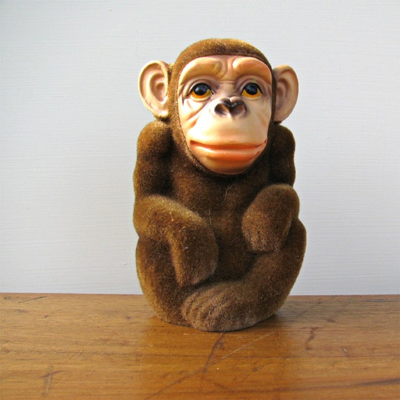 Fuzzy Monkey Vintage Flocked Chimp Bank