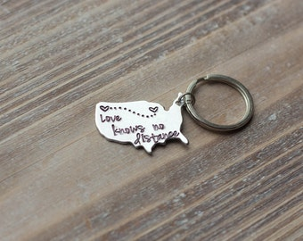 Long Distance Love Key Chain - State to State Keychain - Silver - Custom - Miss You Keychain - Personalized - Valentine's Day Gift
