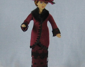 Edwardian Lady Soft Sculpture Miniature Doll by Marie W. Evans