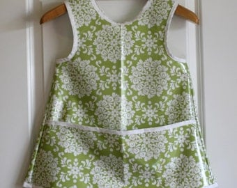 READY TO SHIP Small Criss Cross Back Long Girls Art Smock Art Apron in Light Green and White Damask