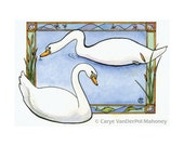 """Swans swimming in pond with cattails, fish, dragonflies, stained glass style - """"Swan's Song"""" - Blank Note Card - Greeting Card, Just Because"""