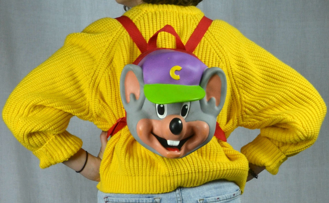 items similar to 90s cartoon chuck e cheese mouse purple hard foam backpack rucksack purse on etsy. Black Bedroom Furniture Sets. Home Design Ideas