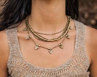 Tribal Brass Necklace~ Large Multiple Strands ~ Clover ~