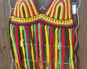 Crochet Rasta Halter Top - Rasta Top - Hippie Top - Fringe Top - Festival Top - Bikini Top - Custom Orders