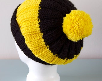 Black & Yellow Beanie Hat - Bumblebee Slouchy Knitted Pom Pom Merino Wool Hat Unisex Gift for him Gift for Her by Emma Dickie Design