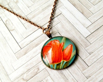SALE tulips upcycled vintage stamp pendant, copper, floral, flower, recycled, eco friendly