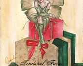 "SALE: Original Art Print, Holiday Fairy Art, Christmas Elf, Fantasy Art, Elven Artwork,""santa's Little Helper"" Jacqueline Collen-Tarrolly"