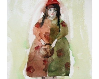 Girl watercolor original painting woman people art Autumn red green