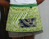 Woman's half apron in summer greens, two pockets, long ties, heavy canvas fabric