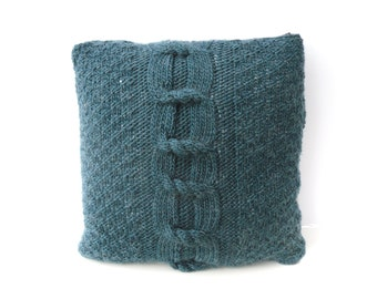 Teal Cushion cover , hand knit Throw Pillow with BIG cable feature