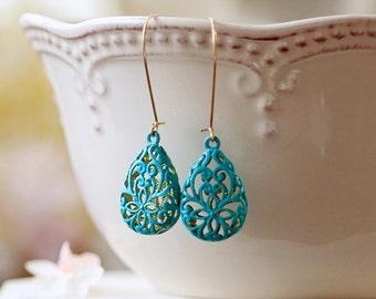 Turquoise Blue Verdigris Patina Puffy Filigree Earrings, Hollow Teardrop Filigree Dangle Earrings, Drop Earrings, Long Kidney Ear wires