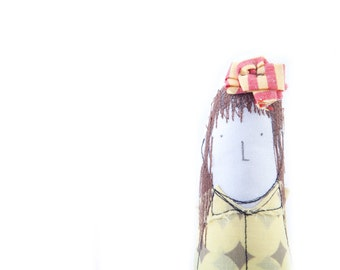 Soft sculpture - Long brown hair woman fabric eco doll  ,wearing yellow retro dotted dress . handmade art doll