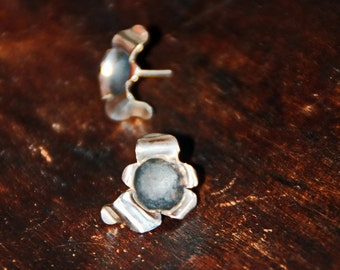 Sterling Silver STUD EARRINGS FLOWER, hand crafted by ARUMIdesign