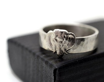 Engravable Elephant Ring, Handforged Sterling Silver Animal Charm Jewelry, Custom Engraving, Personalized Band