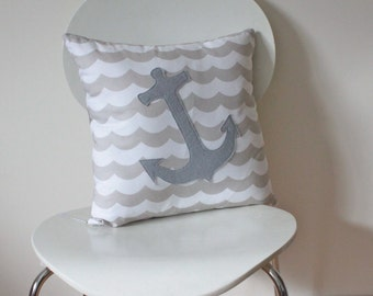 Anchor Throw Pillow Cover, Nautical Sailor, made to fit a size 18 (40 cm) insert