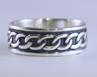 Men's Sterling Silver Wide Ring Band, Wedding Band, Celtic, Unisex, Unique, Custom Made