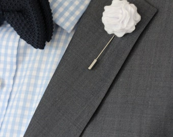 Lapel flower pin, white carnation boutonniere, wedding boutonniere, rustic wedding boutonniere, white boutonniere