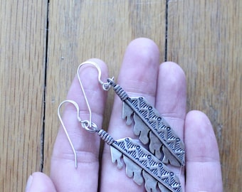 Vintage 90's Sterling Feather Dangle Earrings