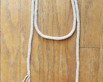 Vintage 20's Pearl White Beaded Sautoir Lariat Fringed Tassel Necklace