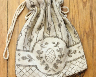 Vintage 20's Flapper Beaded Fringe Pouch Purse
