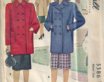 Vintage 1943 McCall Sewing Pattern 5386 Misses Coat Size 12