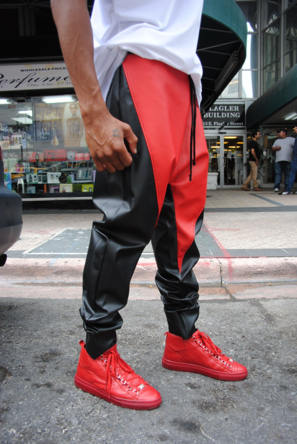 Sale Black And Red Leather Drop Crotch Harem Pants Mens