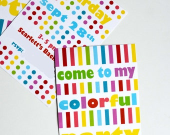 Rainbow Party Printables (Editable Text): Invitation, thank you, cupcake wrappers, toppers and more