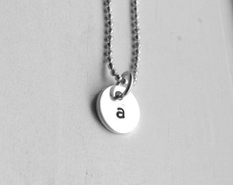 Tiny Initial Necklace, Letter a Pendant, Personalized Necklace, Hand Stamped Small Initial Pendant, Sterling Silver Jewelry