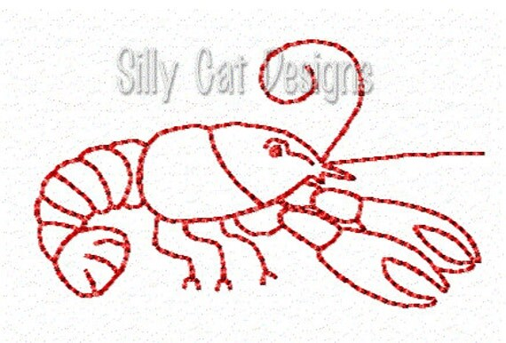 Crawfish Outline Embroidery Design