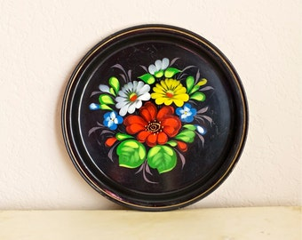 Small Black Round Tray Hand Painted Russian Metal Tin Flower Bohemian Cottage Decor Folk Art