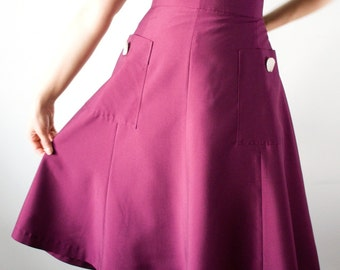 SALE 40s style midi skirt with large pockets, A-line in purple, size US 10 / Swing skirt / Lindy hop skirt /