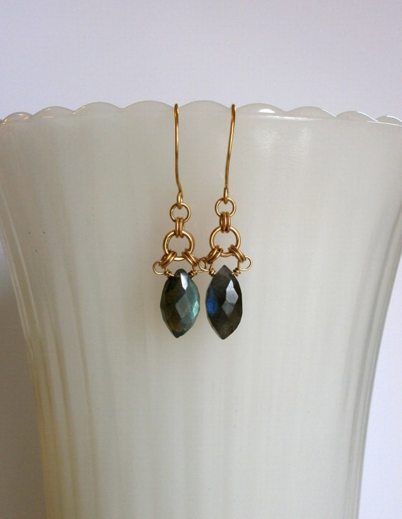 Delicate Labradorite Marquise Earring Gold Chainmaille Earring Small Gray Gemstone Dangle