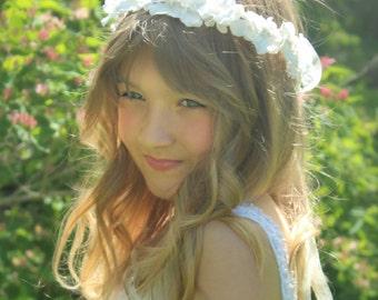 Flower Girl, Hydrangea Flower Crown, Child or Adult, wedding headpiece, head wreath, hair accessories, bridal, white, ivory-DOVE-