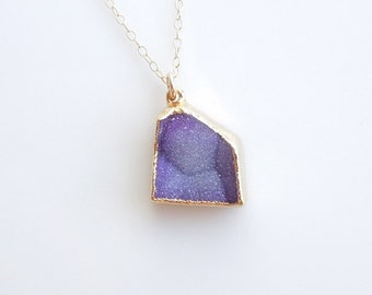 Druzy Necklace in Purple Blue - OOAK Drusy Jewelry - Most Sold Items