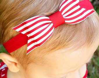 Red Baby Headband, Striped Baby Bow, Striped BOWTIE BOW Headband, Navy or Red, Infant headband, baby headbands, baby bow headband