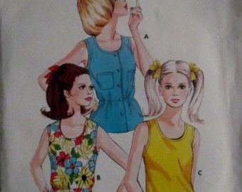 KWIK 553 Misses 70s  Sleeveless Tank Top Sewing Pattern Size 5 to 11, Bust 31 to 36