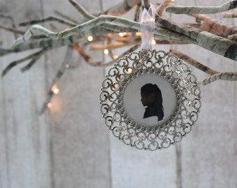Custom silhouette silver frame ornament