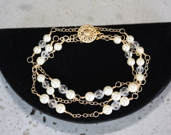 PEARL CRYSTAL BRACELET for the Bride Three Strands Or Triple Stand on Rose Gold Chain or Gold Chain with Swarovski Crystals and Pearls
