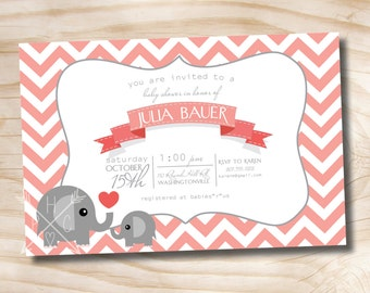 CHEVRON ELEPHANT Banner Custom Baby Shower Invitation Digital Design - Printable Digital file or Printed Invitations