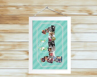BEAUTIFUL FIRST YEAR First Birthday Photo Collage - Printable Design