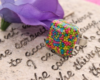 Yummy  Candy Sprinkle Bar Resin Adjustable ring Handmade By: Tranquilityy