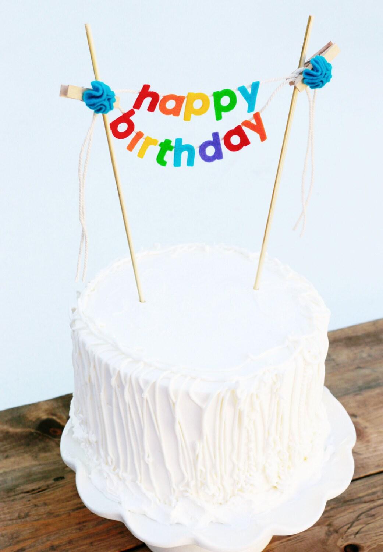 Birthday Cake Banner Birthday Cake Topper By Pipsqueakandbean
