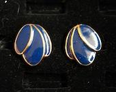 Cobalt Blue Petals Gold Rimmed Post Earrings