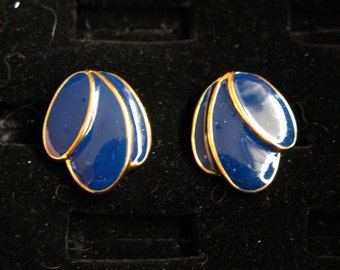 Cobalt Blue Petals Gold Rimmed Post Earrings